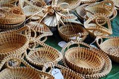 Cestas de Sweetgrass para a venda Fotografia de Stock Royalty Free