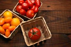 Cestas de tomates Fotografía de archivo