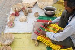 Cestas de vime, artesanatos indianos justos em Kolkata Foto de Stock Royalty Free