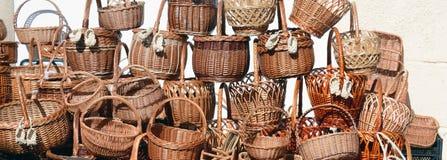 Cestas de vime tradicionais para a venda Imagens de Stock