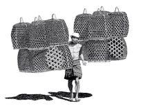 Cestas del pollo del vendedor del dibujo Imagen de archivo