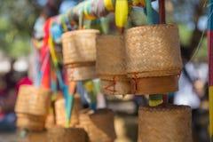 Cestas do arroz em Tailândia do nordeste Imagens de Stock Royalty Free