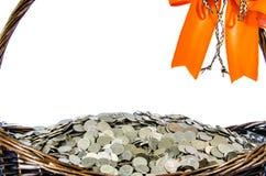 Cestas do presente da moeda Imagens de Stock Royalty Free
