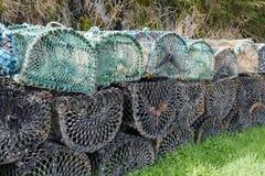 Cestas líquidas dos potenciômetros de pesca para o marisco e os peixes da lagosta fotografia de stock