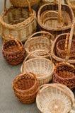 Cestas tejidas hechas a mano Fotografía de archivo