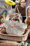 Cestas tejidas hechas a mano Foto de archivo libre de regalías