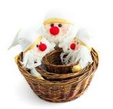 Cestini di legno con il Babbo Natale Fotografia Stock