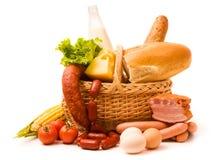 Cestino con alimento Immagine Stock