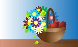 Cestino con i fiori Immagini Stock