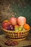 Cestino con la frutta di autunno Fotografie Stock
