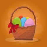 Cestino con le uova di Pasqua Immagini Stock
