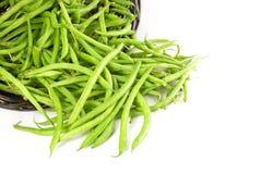 Cestino dei fagioli verdi freschi rovesciati fuori Fotografia Stock Libera da Diritti