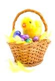 Cestino della canna con le uova di Pasqua del cioccolato Immagini Stock