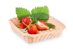 Cestino della frutta rossa della fragola Fotografie Stock Libere da Diritti