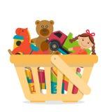 Cestino della spesa con i giocattoli illustrazione di stock