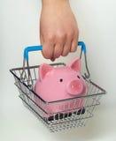 Cestino della spesa della tenuta della mano con il porcellino salvadanaio Fotografie Stock