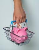 Cestino della spesa della tenuta della mano con il porcellino salvadanaio Fotografie Stock Libere da Diritti