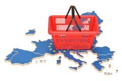 Cestino della spesa sulla mappa dell'Unione Europea, sul paniere di mercato o sul purchasi royalty illustrazione gratis