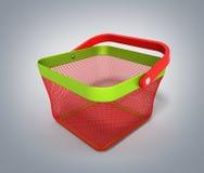 Cestino della spesa vuoto Render isolata sulla pendenza grigia 3D Illust Fotografia Stock Libera da Diritti