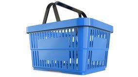 Cestino di acquisto blu di plastica modello 3d Fotografia Stock Libera da Diritti