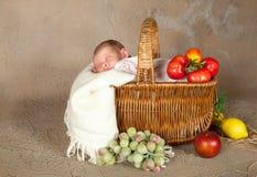 Cestino di acquisto con il bambino Immagine Stock Libera da Diritti