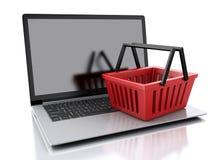 cestino di acquisto 3D Concetto online di acquisto Immagini Stock Libere da Diritti