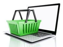 cestino di acquisto 3D Concetto online di acquisto Fotografia Stock Libera da Diritti