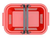 Cestino di acquisto rosso Fotografia Stock Libera da Diritti