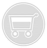 Cestino di acquisto, tasto del carrello Fotografie Stock Libere da Diritti