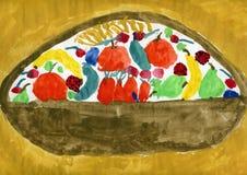 Cestino di frutta illustrazione di stock