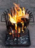 Cestino di fuoco Burning Immagine Stock Libera da Diritti