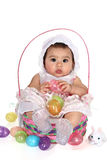 Cestino di Pasqua della neonata Fotografie Stock