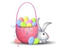 Cestino di Pasqua e coniglietto di pasqua Immagini Stock