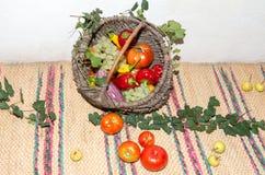 Cestino di vimini con le frutta e le verdure Fotografia Stock