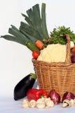 Cestino e verdure Fotografia Stock Libera da Diritti