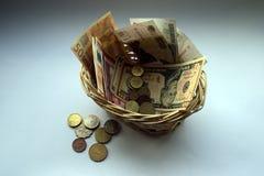 Cestino monetario Fotografia Stock Libera da Diritti