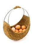 Cestino tessuto in pieno delle uova fotografia stock libera da diritti