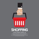 Cesto de compras à disposição ilustração do vetor