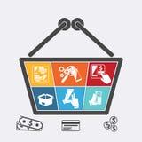 Cesto de compras com ícones do comércio eletrônico em linha Imagens de Stock Royalty Free