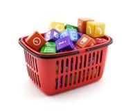 Cesto de compras com caixas dos media Imagem de Stock