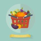 Cesto de compras com o vegetal no estilo liso Ilustração do vetor Imagens de Stock