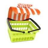 Cesto de compras com toldo da loja ilustração stock