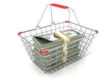 Cesto de compras do fio de aço completamente de pilhas dos dólares Fotografia de Stock