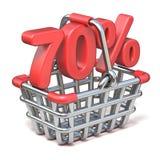 Cesto de compras do metal sinal de 70 POR CENTO 3D Fotografia de Stock