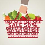Cesto de compras e alimento, vegetal Imagens de Stock Royalty Free