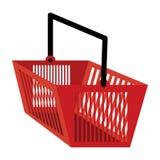 Cesto de compras na cor vermelha Fotografia de Stock