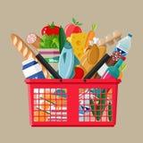Cesto de compras plástico completamente de produtos dos mantimentos ilustração stock