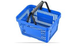Cesto de compras vazio azul de queda ilustração 3D Imagens de Stock Royalty Free
