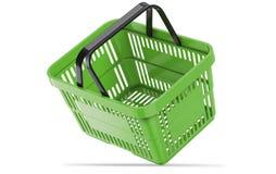 Cesto de compras vazio verde de queda ilustração 3D Imagem de Stock Royalty Free