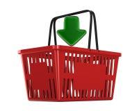 Cesto de compras vazio vermelho no fundo branco Ilustra??o 3d isolada ilustração royalty free